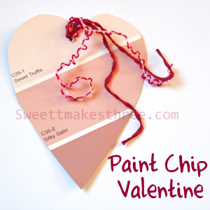 Homemade Valentine Cards: Paint Chip Valentine with Template
