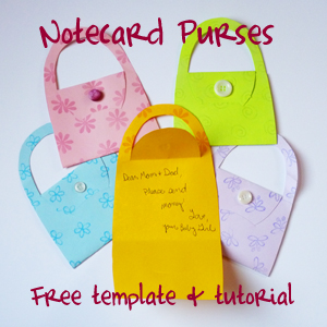 Note card purses Free Printable Template #printables