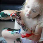 finger painting with toes