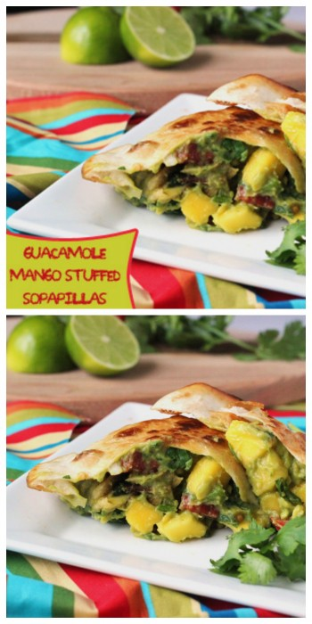 Savory and sweet blend together in these Guacamole Mango Stuffed Sopapillas