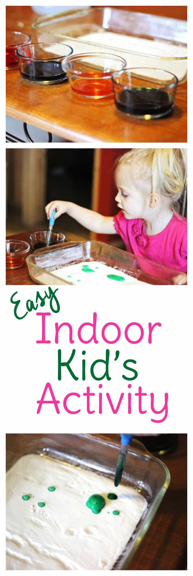 Indoor kid's activities can be a life saver on rainy days. Try this cheap and easy activity that's suitable for toddlers to preschoolers and older!