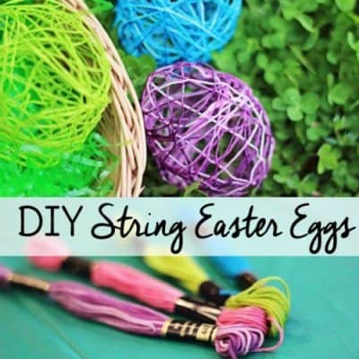 Looking for simple Easter crafts? These yarn Easter eggs can be displayed in a bowl or strung together to make an Easter garland.