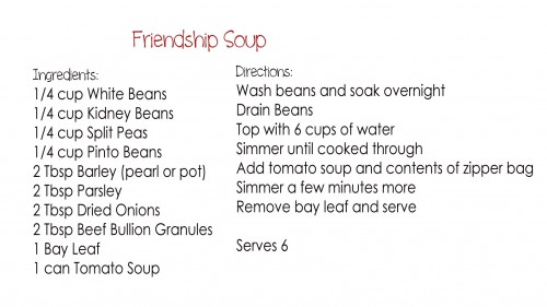Friendship Soup Gift in a Jar Printable