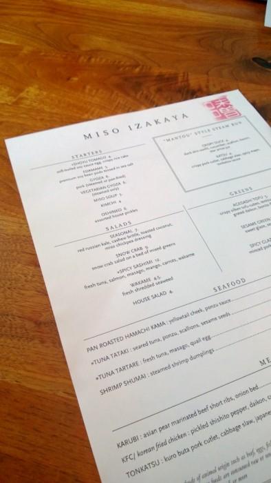 Miso Izakaya Sushi Restaurant menu