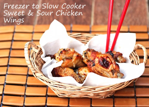 Freezer to Slow Cooker Sweet and Sour Chicken Wings #freezermeals #crockpot