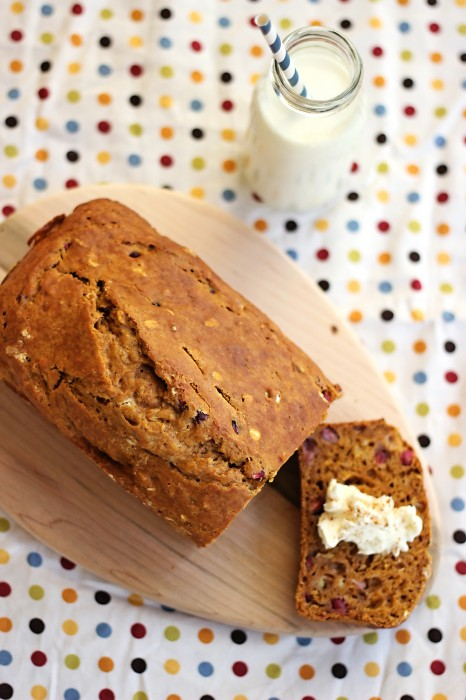 Pomegranate Pumpkin Bread combines two fall flavors in one delicious quick bread. Spread cream cheese on this pumpkin recipe for a real treat!
