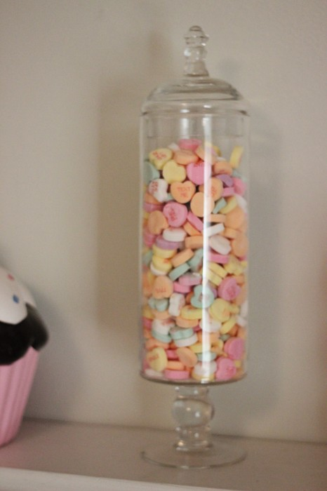 Valentines Apothecary Jar with Conversation Hearts