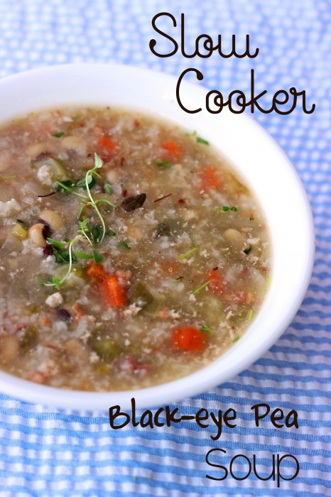 Slow Cooker Black-eye Pea Soup: Already gluten-free and diary-free, leave out the bacon pieces for a vegan option.