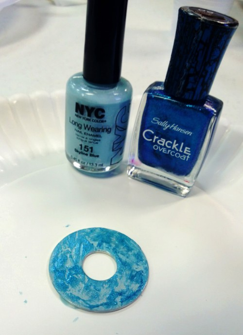 crackle nail polish DIY washer necklace craft