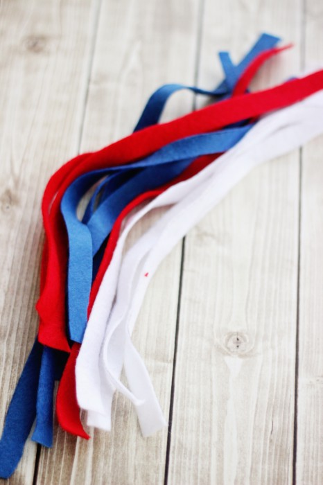red white and blue felt strips