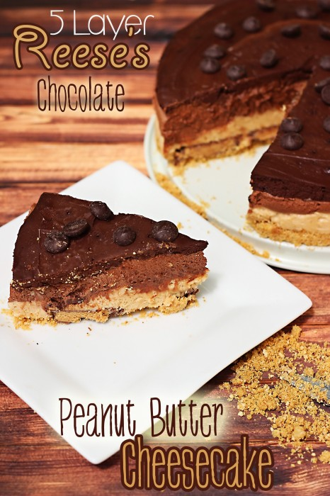 Try this chocolate peanut butter cheesecake if you love Reeses recipes. With five layers, it's the ultimate chocolate peanut butter dessert!