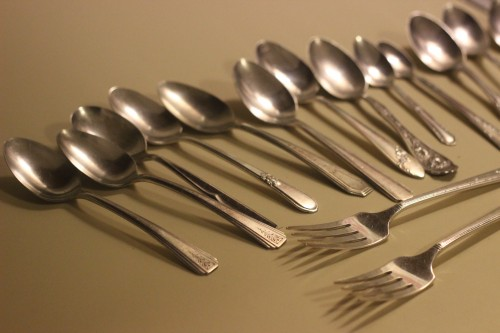 polishing silver spoons for metal stamping