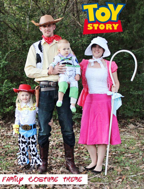 toy story family costumes bo peep, jessie, buzz, and woody