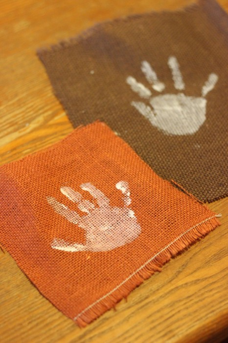 handprint craft with burlap