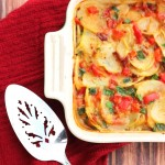 These Holiday Scalloped Potatoes make a festive side dish with minimal effort. Plus...bacon
