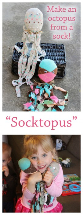 """DIY """"Socktopus"""" All you need is a sock, some filling (cotton balls will work!) craft glue and googly eyes. Fun rainy day craft to do with kids!"""