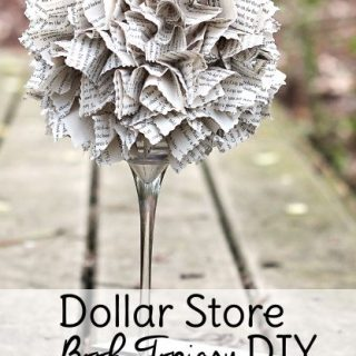 This DIY Dollar Tree decor piece is made entirely from items found at Dollar Tree. If you want to be even more thrifty, you can make this craft with an old book instead of buying one new for your dollar store decor project. These Dollar Tree DIY centerpieces are perfect for tables, your bookcase, or to give as gifts