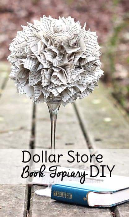 This DIY Dollar Tree decor piece is made entirely from items found at Dollar Tree. If you want to be even more thrifty, you can make this craft with an old book instead of buying one new for your dollar store decor project. These Dollar Tree DIY centerpieces are perfect for tables, your bookcase, or to give as gifts #dollartree #dollarstore #diy #homedecor