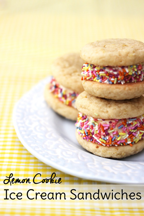 Looking for easy desserts for spring? These Lemon Cookie Ice Cream Sandwiches fit the bill. This easy cookie recipe tastes amazing all on its own but sandwich some ice cream in between them to really make your taste buds sing!