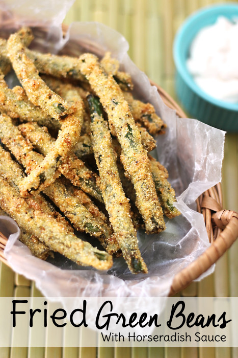 If you're looking for easy appetizers for a party, look no further. These fried green beans with horseradish dipping sauce will be a hit at your next dinner party!