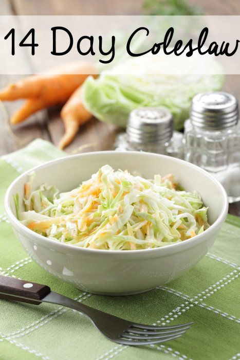 This is a wonderful coleslaw recipe that stays fresh and crisp in your refrigerator for up to 14 days. Tastes great on it's own and makes a great coleslaw for pulled pork or slaw for tacos.