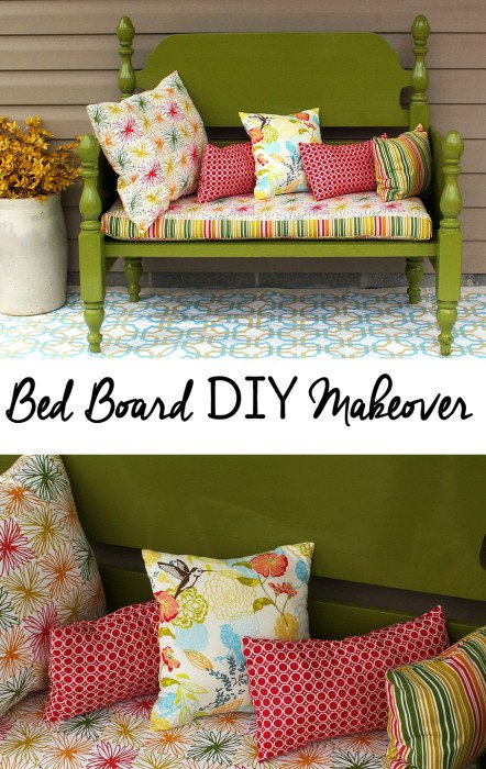 Bed board upcycled into a garden bench