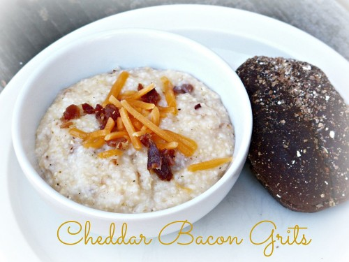 Do you want to take your grits to a whole new level?  Introduce them to bacon and cheddar cheese.