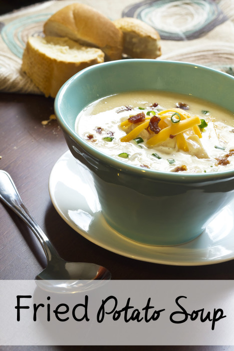 This is not your average loaded baked potato soup recipe. Fried potatoes make it even more sinful. Possibly the best potato soup you'll ever make!
