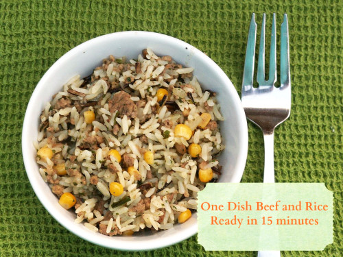 If you need a one pot dinner idea, try this one dish meal of beef and rice. Ready in 15 minutes!