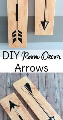 DIY room decor mod podge craft! These wood arrows make a cool bedroom decor piece or accent for your home office