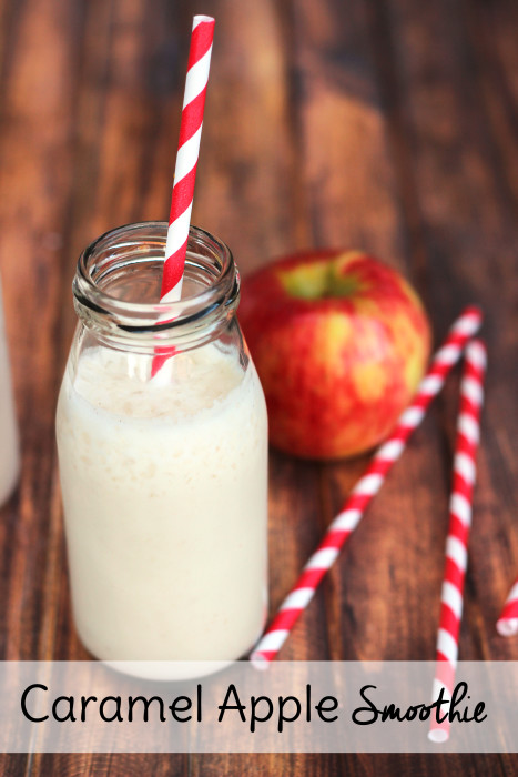 This Caramel Apple Smoothie Recipe makes a great snack idea for kids or make it ahead for a quick breakfast on the go