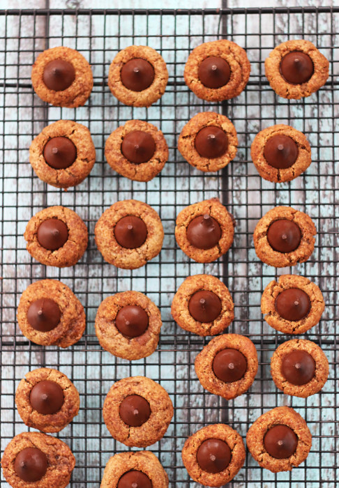 If you are looking for easy gluten free desserts, try flourless cookies! Since these gluten free peanut butter blossoms are flourless, you won't have to worry about specialty flours. And with only 5 ingredients, these peanut butter cookies bake up in a jiffy!
