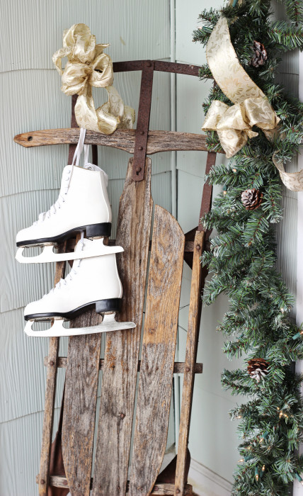 vintage christmas home tour antique sled with ice skates - Vintage Christmas Decorations