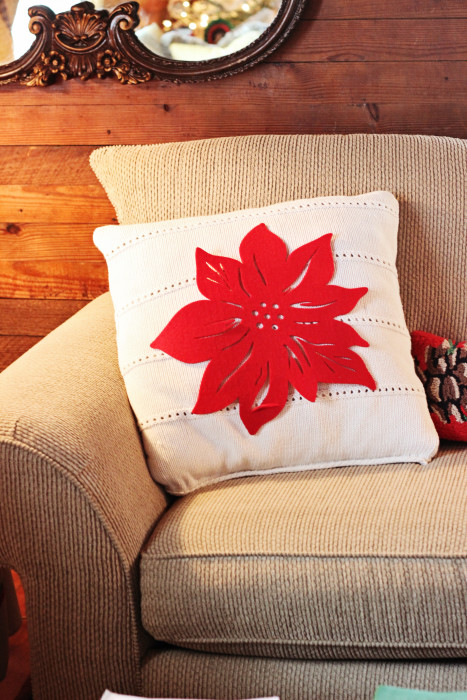 Pottery Barn hack! Make your own home decor with this throw pillow made from an old sweater.