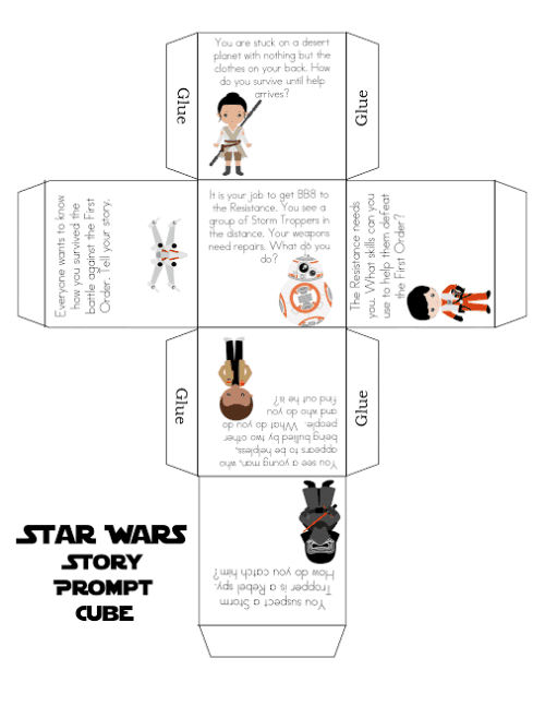 Free Star Wars Printable Story Prompt Cube! Fun activity for kids.