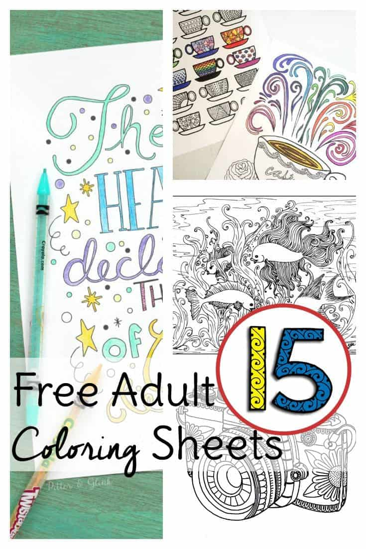 Below are 15 free adult coloring sheets so you can color without spending a dime! No coloring pencils on hand? Break our your kids crayons if you have to and remember to relax and have fun.