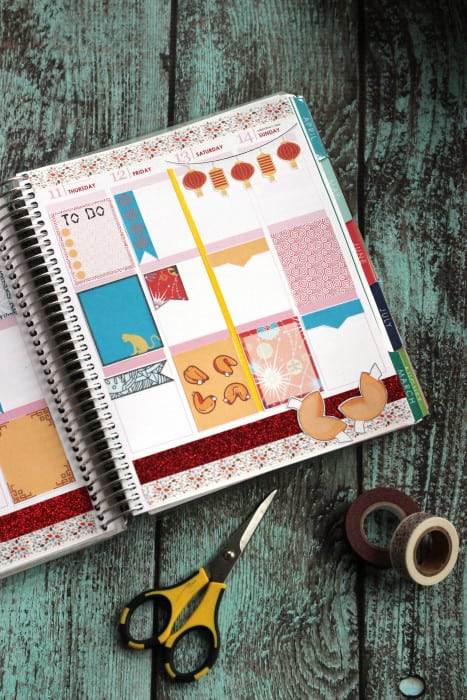 Grab these free planner printables inspired by Chinese New Year! These planner stickers are designed for Erin Condren Life Planner vertical layouts.