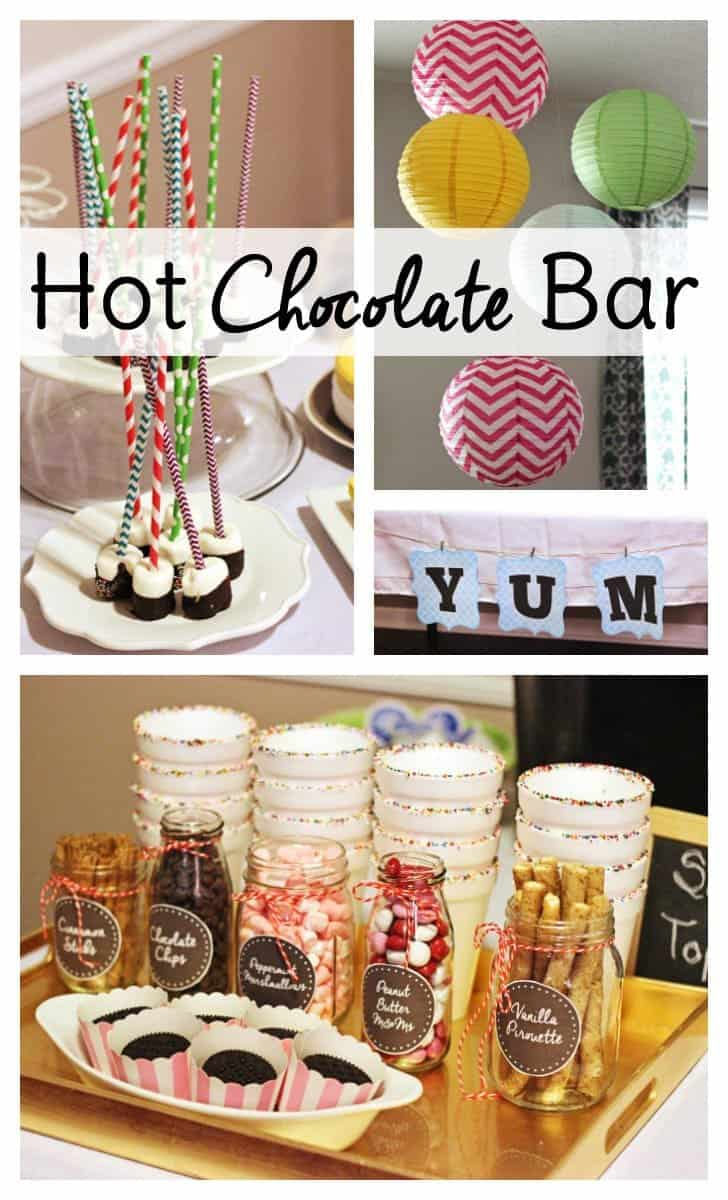Most of the ideas for a hot chocolate bar I've seen tend toward a Christmas or Valentine's theme, but I went for something more bright, whimsical and spring-like. It may be chilly enough to sip on hot cocoa, but that doesn't mean we don't have some spring fever!