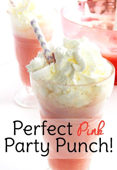 pink party punch with sherbet is the perfect punch for baby showers