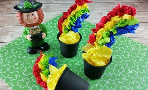 then stuff with yellow tissue paper for the pot of gold.