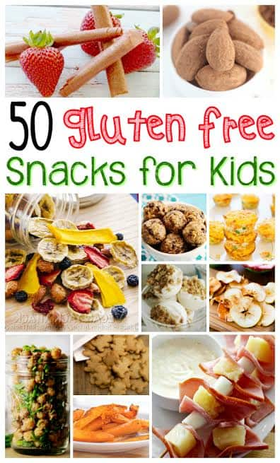 Need simple, gluten free kid's snacks? Check out these 50 gluten free snacks for kids for inspiration! Some of them make great gluten free lunches for kids too.