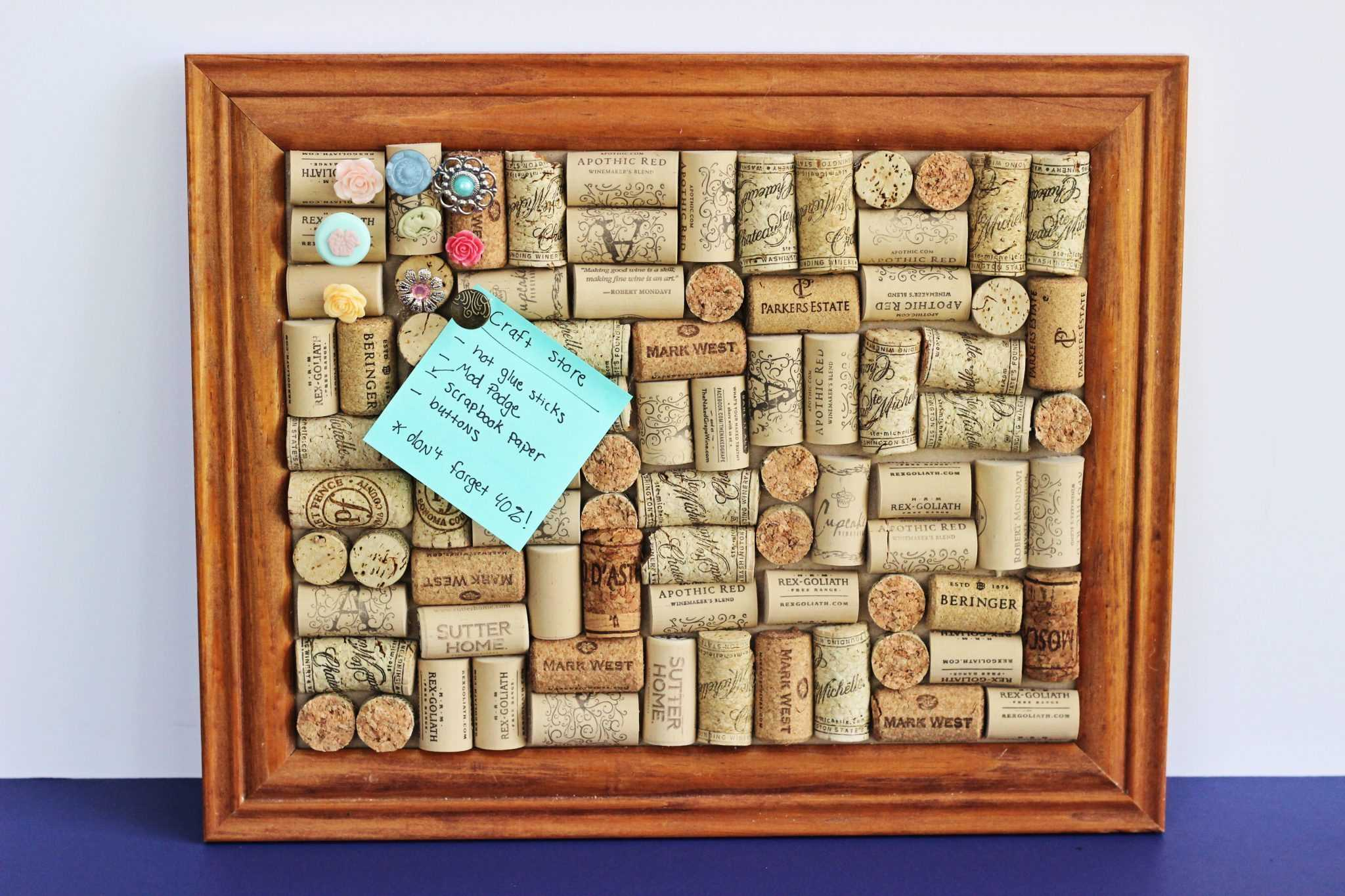 Cork crafts are a great way to upcycle used wine corks. You can make this cork board DIY in about an hour! Don't have an hour? You can make the pushpin DIY in 5 minutes or less.