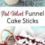 Whether you call them funnel cake fries or funnel cake sticks, this copycat recipe of the beloved fair food is served red velvet style with cream cheese frosting for dipping. It's a dessert to die for!