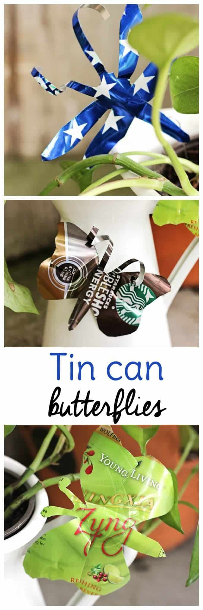 Upcycle aluminum cans into butterflies and dragonflies for your garden or potted plants with these easy soda can crafts.