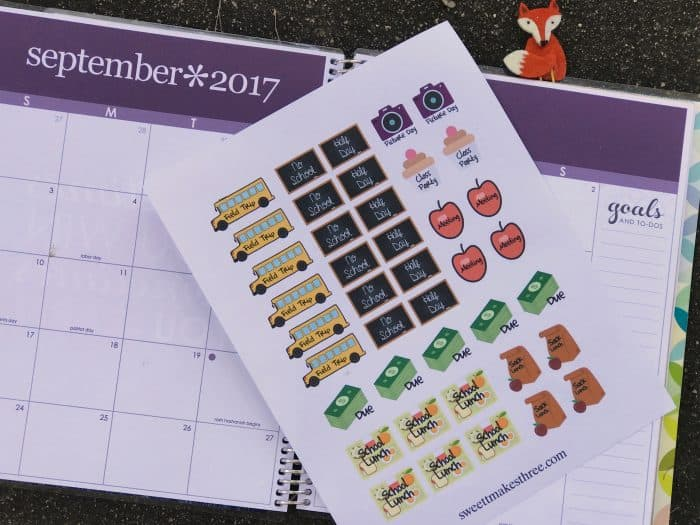 Use these back to school planner stickers to make school organization a breeze.You don't have to have an Erin Condren Life Planner to enjoy these free printables because these free planner stickers look cute on a calendar too!