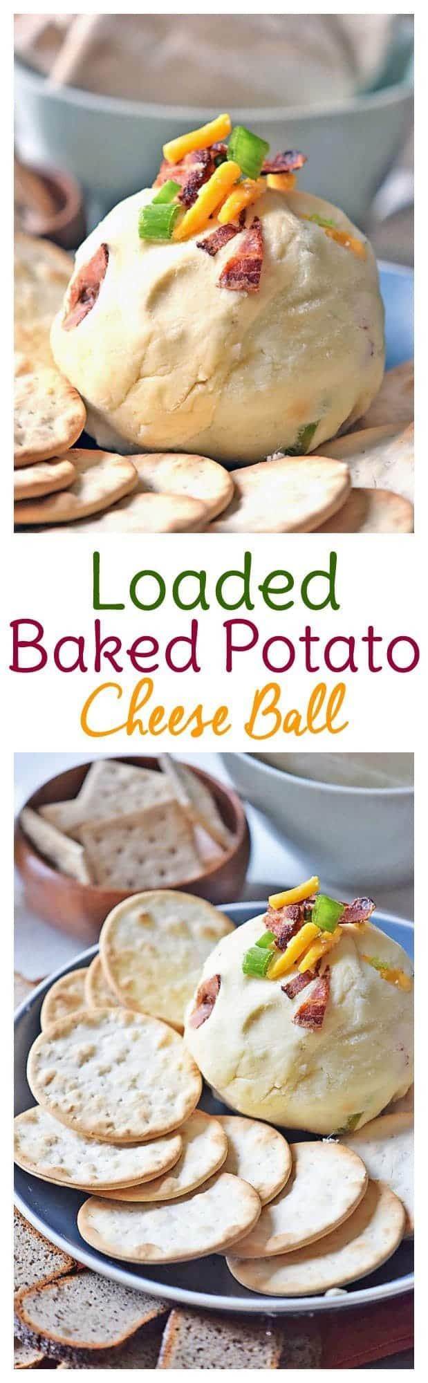 Loaded Baked Potato Cheese Ball - Sweet T Makes Three