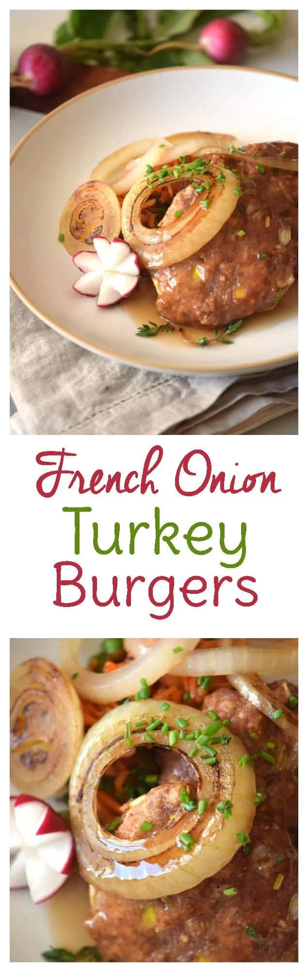 French Onion Turkey Burgers. Moist and delicious!
