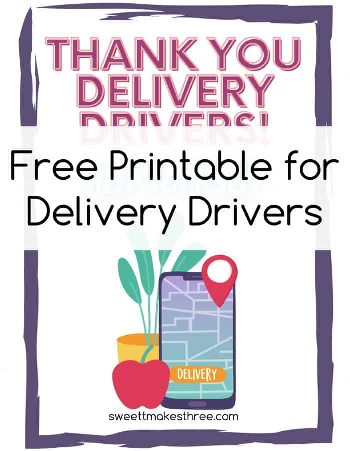 thank you sign for delivery drivers snacks and drinks