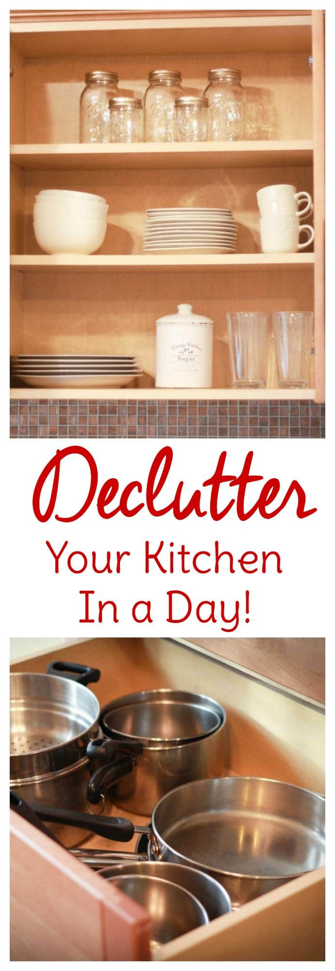 Kitchen organization begins with a kitchen declutter. Find out ways to declutter your kitchen in a day with this step-by-step process.