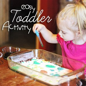 Cheap and easy toddler activity. Great for rainy days!